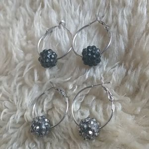 Jewelry - 2 sets of Silvertone hoops with studded balls